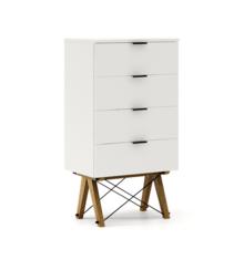 KOMODA TALLBOY LOW kolor WHITE stelaż DĄB  Komoda w formie szufladnika TALLBOY. Idealnie posłuży jako bieliźniarka w sypialni lub pokoju dziecka....