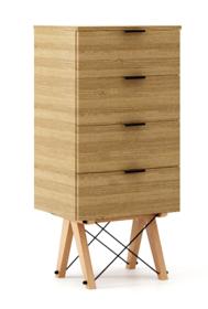 KOMODA TALLBOY LOW kolor RAW OAK stelaż BUK (standard)  Komoda w formie szufladnika TALLBOY. Idealnie posłuży jako bieliźniarka w sypialni lub pokoju...