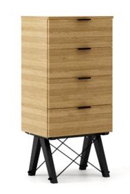 KOMODA TALLBOY LOW kolor RAW OAK stelaż BUK BLACK  Komoda w formie szufladnika TALLBOY. Idealnie posłuży jako bieliźniarka w sypialni lub pokoju...