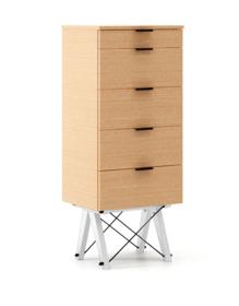 KOMODA TALLBOY TALL LUXURY WOOD blat BUK stelaż BUK WHITE  Komoda w formie szufladnika TALLBOY. Idealnie posłuży jako bieliźniarka w sypialni lub pokoju...