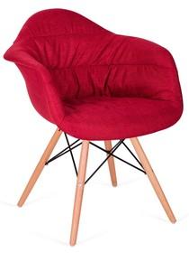 Fotel RUGO ARM czerwony - tkanina, podstawa bukowa
