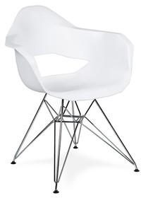 Fotel GULAR DSR biały - polipropylen, podstawa chromowana
