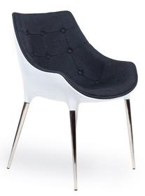 Fotel PASSION czarno-białe, tkanina - włókno szklane, podstawa chromowana