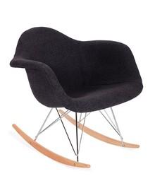 Fotel bujany PLUSH grafitowy - tkanina, płozy bukowe