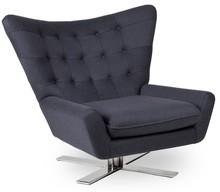 Fotel VINGS ciemny szary - wełna, podstawa chromowana