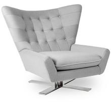 Fotel VINGS jasny szary - wełna, podstawa chromowana