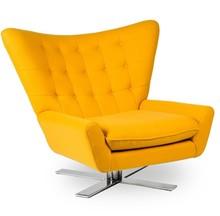 Fotel VINGS żółty - wełna, podstawa chromowana