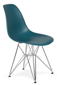 Krzesło DSR SILVER marynarski niebieski #23 - podstawa metalowa chromowana