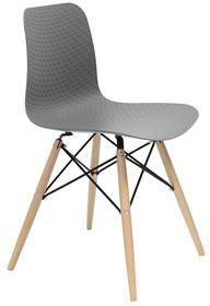 Krzesło KRADO DSW PREMIUM szare - polipropylen, podstawa bukowa