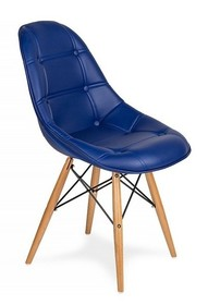 Krzesło tapicerowane ekoskórą.<br />Nogi drewno buk, łączenia stal lakierowana na czarno.<br />Waga netto 1 szt.: 3.50 kg<br...