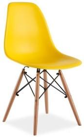 Żółte krzesło Enzo w stylu skandynawskim. Dzięki pięknej nowoczesnej formie siedziska i nietuzinkowym nóżkom są lekkimi i bardzo designerskimi...