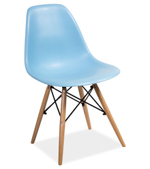 Niebieskie krzesło Enzo w stylu skandynawskim. Dzięki pięknej nowoczesnej formie siedziska i nietuzinkowym nóżkom są lekkimi i bardzo designerskimi...