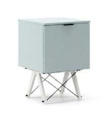 KONTENER ONE kolor ICE BLUE stelaż BUK WHITE  Praktyczny i pojemny kontener z półkami, idealny jako uzupełnienie biurka BASIC lub samodzielna szafka....