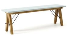 Ławka do stołu BASIC kolor ICE BLUE stelaż DĄB  Uzupełnienie stołu BASIC lub samodzielna ławka w duchu SCANDI, idealna do jadalni lub kuchni....