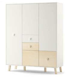 Pojemna, funkcjonalna i bardzo nowoczesna szafa 3 drzwiowa MAGI to mebel, który pomieści prawie całą domową garderobę. Komplet szuflad, szafek, półek...