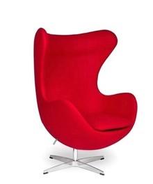 Fotel dziecięcy EGG KIDS czerwony.17 - wełna, podstawa aluminiowa