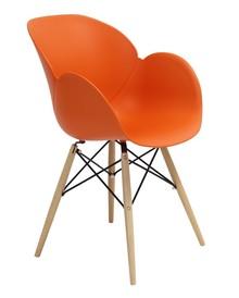 Fotel FLOWER DSW PREMIUM pomarańczowy - polipropylen, podstawa bukowa