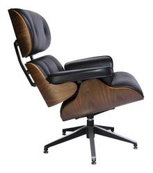 Fotel LOUNGE skóra - czarny/sklejka orzech