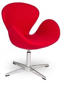 Fotel SWAN SILVER czerwony - wełna, podstawa stal