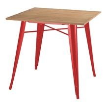 Stół TOWER WOOD czerwony - blat jesion/metal