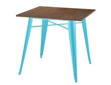 Stół TOWER WOOD - sosna antyczna/niebieski