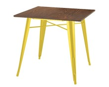 Stół TOWER WOOD - sosna antyczna/żółty