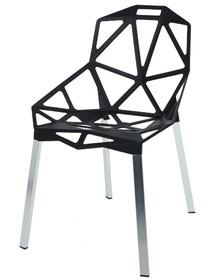 Krzesło SPLIT PREMIUM czarne - aluminium, nogi srebrne