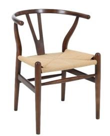 Krzesło WISHBONE - ciemny brąz/włókno naturalne