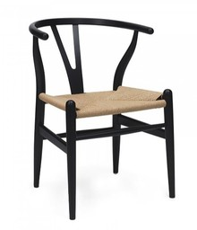 Krzesło WISHBONE - czarny/włókno naturalne