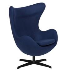 Fotel EGG CLASSIC BLACK wełna - atlantycki niebieski