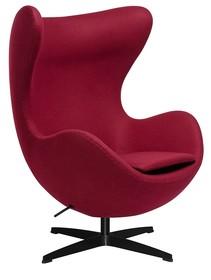 Fotel EGG CLASSIC BLACK wełna - bordowy