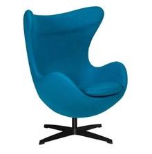 Fotel EGG CLASSIC BLACK wełna - ciemny turkus