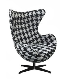 Fotel EGG CLASSIC BLACK duża pepitka - tkanina, podstawa czarna