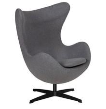 Fotel EGG CLASSIC BLACK wełna - grafitowy szary