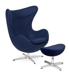 Fotel EGG CLASSIC z podnóżkiem - atlantycki niebieski