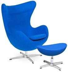 Fotel EGG CLASSIC z podnóżkiem - chabrowy niebieski