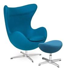 Fotel EGG CLASSIC z podnóżkiem - ciemny turkus