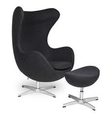 Fotel EGG CLASSIC z podnóżkiem - ciemny szary