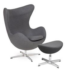 Fotel EGG CLASSIC z podnóżkiem - grafitowy szary