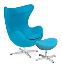 Fotel EGG CLASSIC z podnóżkiem - jasny turkus