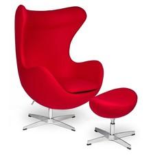 Fotel EGG CLASSIC z podnóżkiem - czerwony