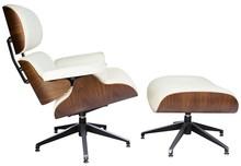 Fotel LOUNGE z podnóżkiem skóra - biały/sklejka orzech