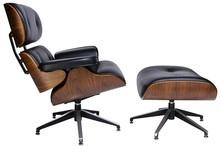 Fotel LOUNGE z podnóżkiem skóra - czarny/sklejka orzech