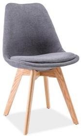 Krzesło tapicerowane DIOR dąb - ciemny szary