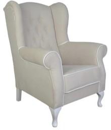 Fotel Uszak Carmen pikowanie karo posiada pikowanie z guzikami na oparciu i białą lamówkę w standardzie. To kolejny model słynnego fotela Uszak tylko...