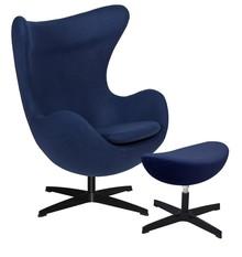 Fotel EGG CLASSIC BLACK z podnóżkiem - atlantycki niebieski.26, podstawa czarna