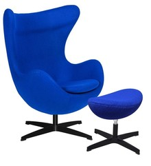 Fotel EGG CLASSIC BLACK z podnóżkiem - atramentowy niebieski.29, podstawa czarna