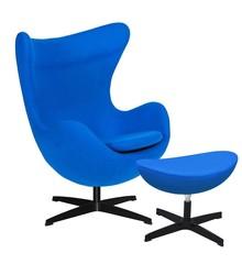 Wełna kaszmirowa (70% wełna naturalna, 30% poliester)<br />Podstawa stal lakierowana na czarno.<br />Mechanizm obrotowy fotela 360 stopni<br...