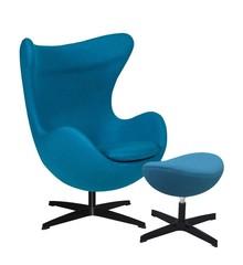 Fotel EGG CLASSIC BLACK z podnóżkiem - ciemny turkus.16, podstawa czarna