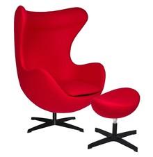 Fotel EGG CLASSIC BLACK z podnóżkiem - czerwony.17- wełna, podstawa czarna